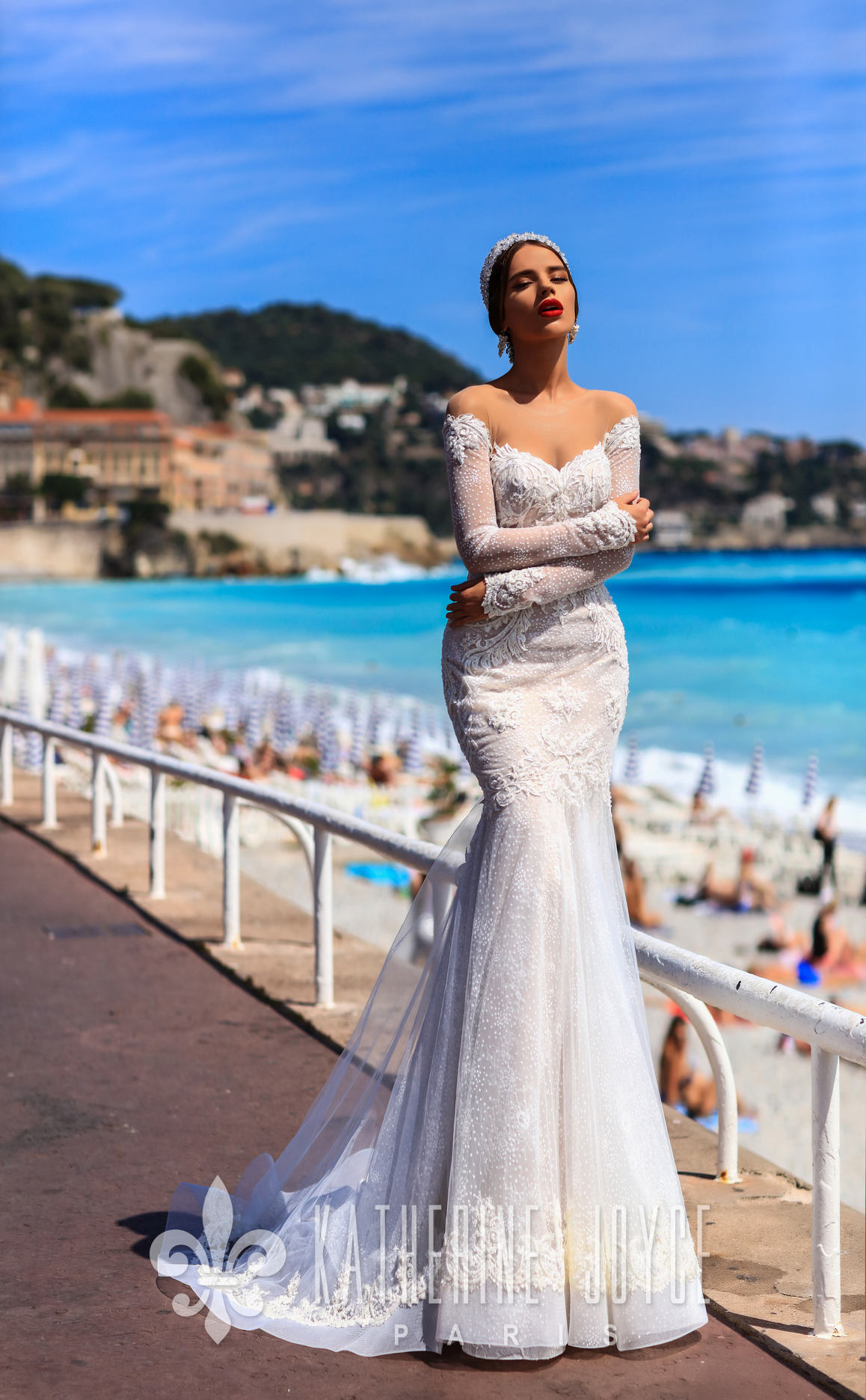 4d4ce48fe0c7 This romantic wedding dress attributes a beautiful off-the-shoulder long  sleeve on a transparent basis. A stylish mermaid wedding dress with soft  appliques ...